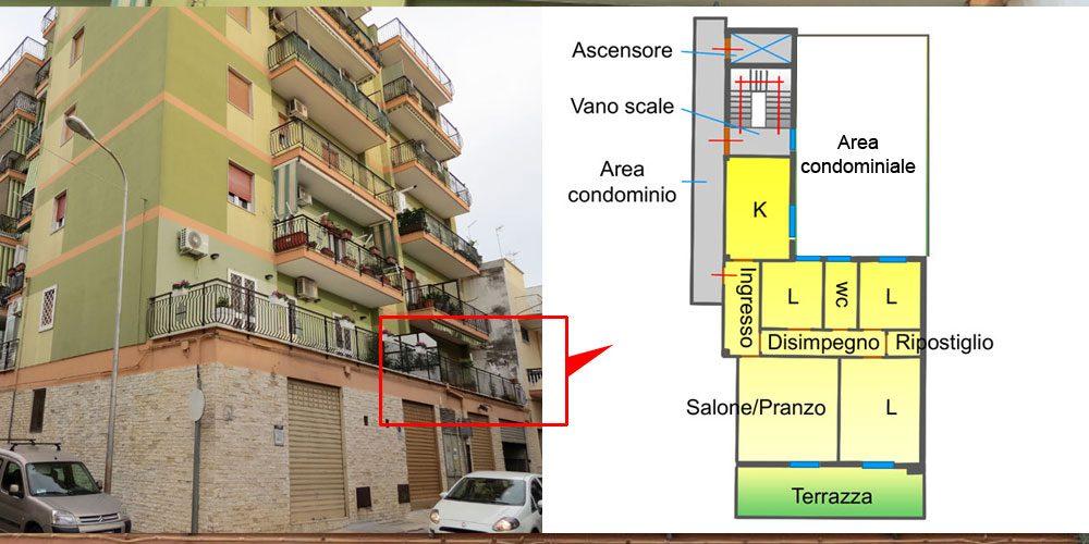 Appartamento quadrivani al primo piano, con terrazza – via Mons. di Donna